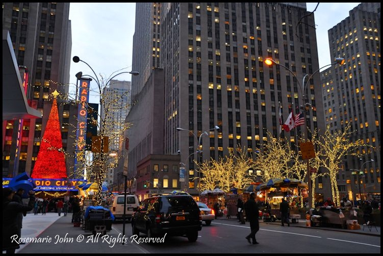 exploring midtown manhattan on foot is truly a colourful experience as you approach rockerfeller plaza you will also notice the many lights and christmas