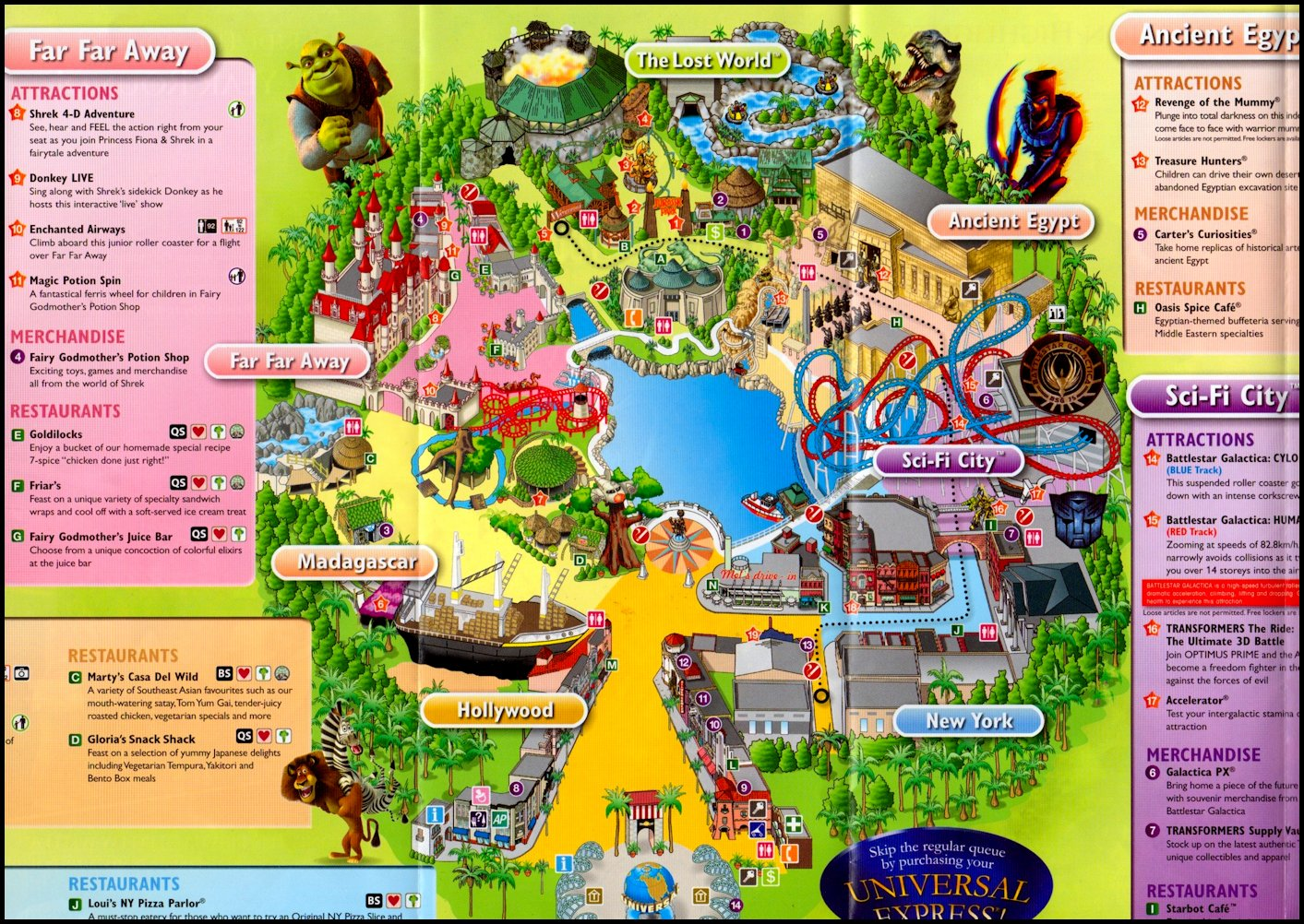 Location Map of Universal Studio Singapore for Travelers – Hollywood Tourist Map