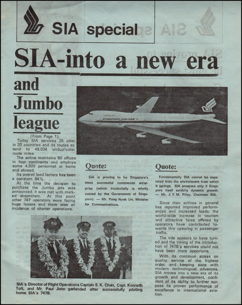 Singapore Airlines Director of Flight Operations Captain S.K. Chan, Capt. Kenneth Toft and Flight Engineer John Paul garlanded after successfully piloting home SIA's 747B.