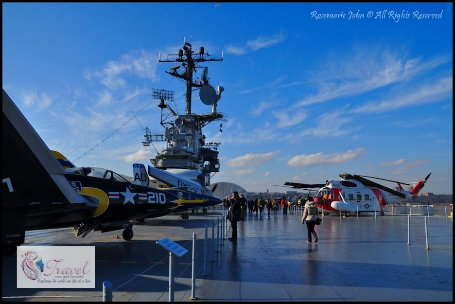 Intrepid Flight Deck with the Flag Bridge and Navigation Bridge in the background