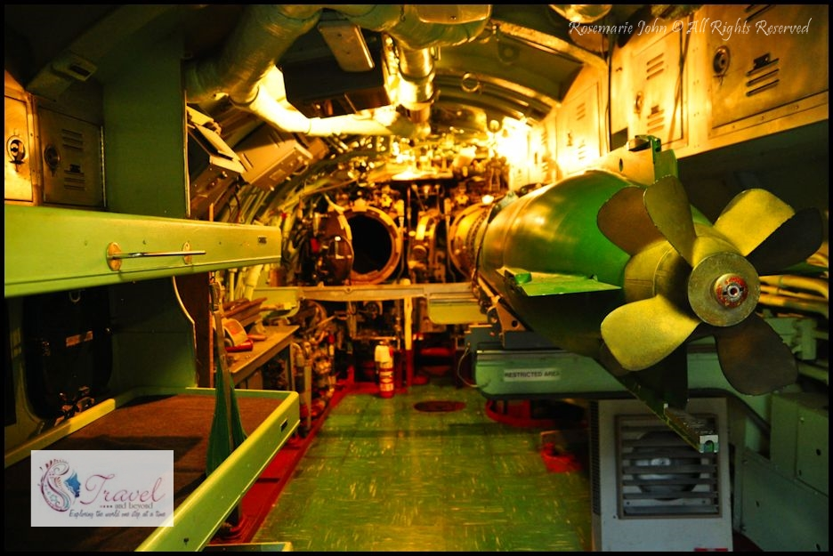 Aft Torpedo Room - Growler had two torpedo rooms, located at the bow (front) and stern (back) of the submarine.  Her torpedoes were intended for self-defense.  This torpedo room also contained nine bunks for enlisted crew members.