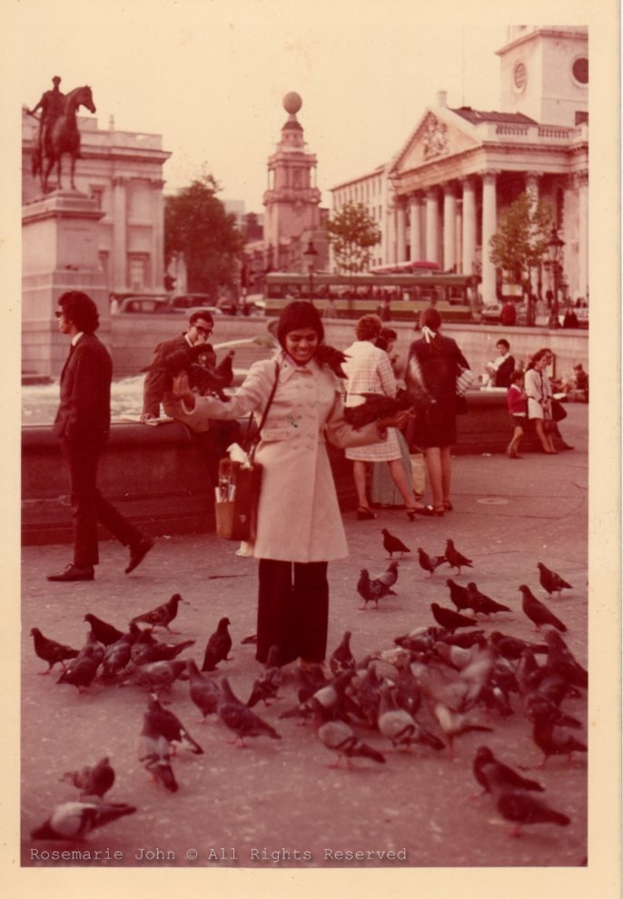 My gorgeous mum with the pigeons at Trafalgar Square