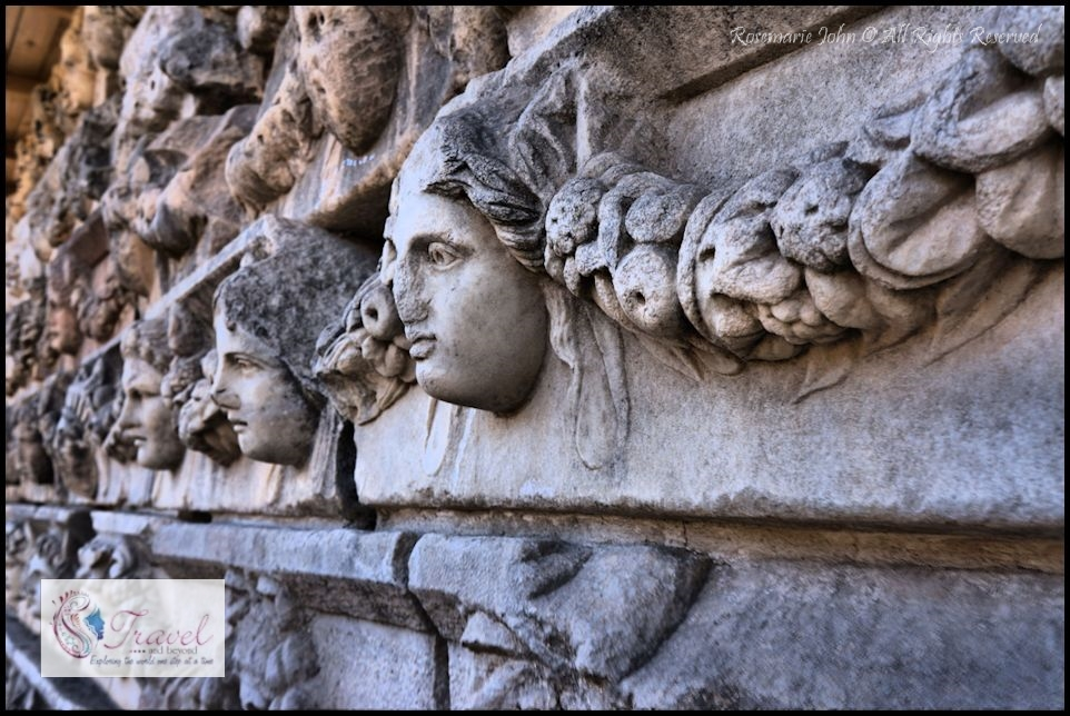 A wall of Agora frieze blocks at Aphrodisias.