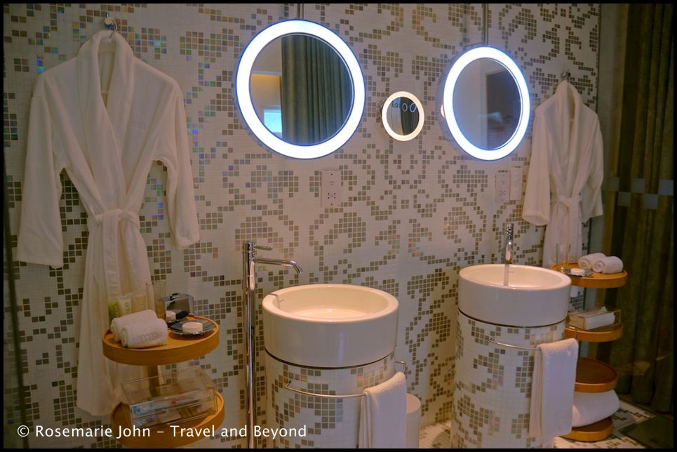 Our beautiful bathroom with a circular themed design