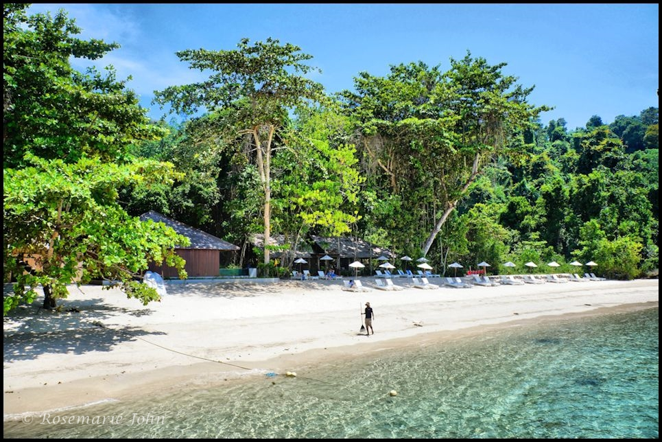 The pristine private beach at Tavajun Bay