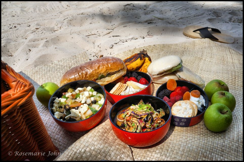 The delicious spread... Greek Salad, Sautéed Brinjal with Thai Chilli Sauce, Fruits, Crackers, Cheese and Berries and Sandwiches!
