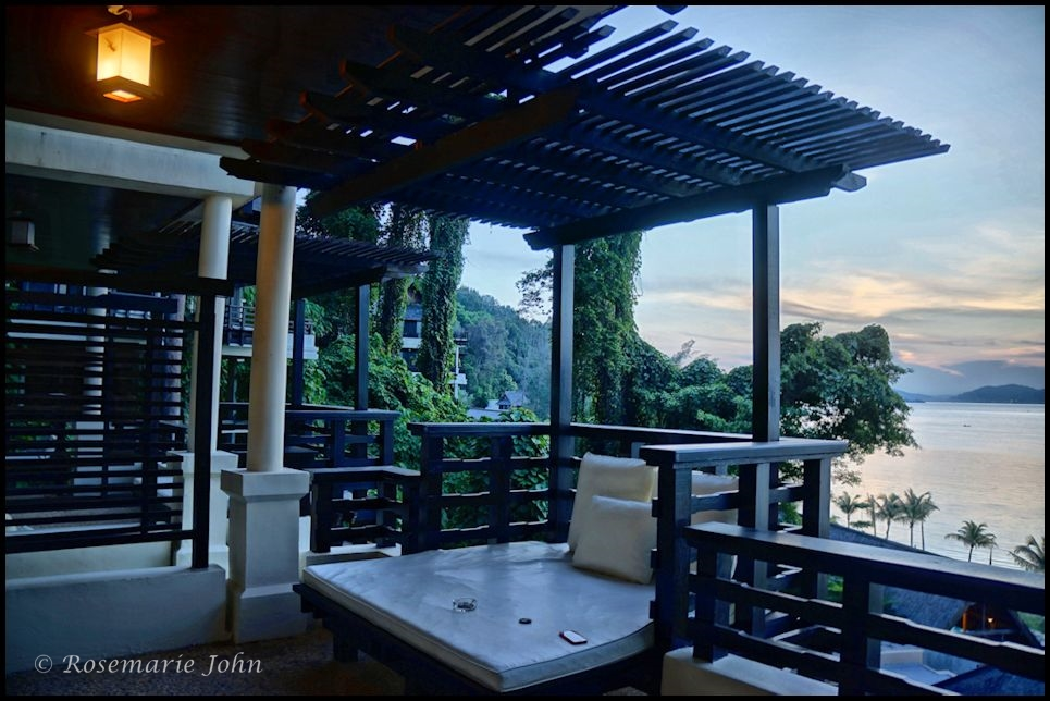 Our balcony at the Kinabalu Villa at dawn...